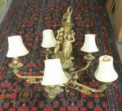 19th Century French Gilded Bronze Figural Chandelier Five Light Lamp Antique