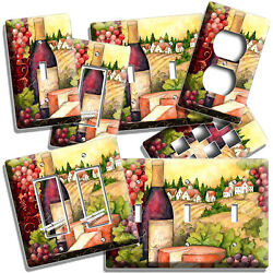 Tuscan Vineyard Wine Bottle Cheese Grapes Light Switch Outlet Plates Kitchen Art