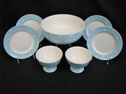 Set Of 7 Pc. Spode Baking Days Blue Hand Decorated White Dots Plates And Bowls