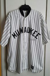 2006 Chad Moeller Signed Milwaukee Brewers Mlb Game Jersey By Ais Size 46