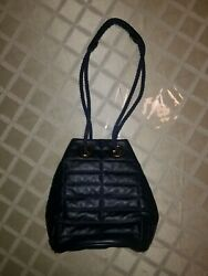 BIMBA Y LOLA NAVY QUILTED LEATHER SHOULDER BUCKET BAG $80.00