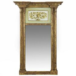 AMERICAN FEDERAL MIRROR | Antique Giltwood Eglomise Painted Panel Pier Mirror