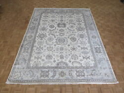 9'2 X 12 Hand Knotted Ivory Blue Turkish Bamboo Silk Oushak Oriental Rug G5703