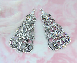 Antique Silver 2 Pieces Boho Earring Drops Filigree Stamping Oxidized C-101