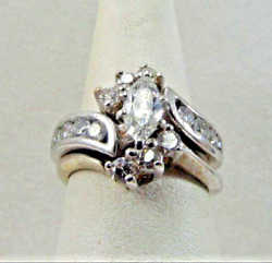 14k Solid White Gold 1.62ct. Wedding Band And Ring Set. Size 7 Save 1800. R508