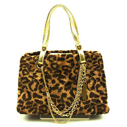 Samantha Vega Tote Bag Brown Gold Woman Authentic Used Y7535