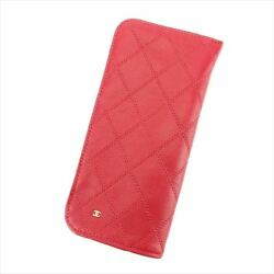 Glasses Case Red Leather Woman Unisex Authentic Used T7668