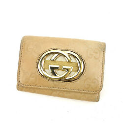 Key Holder Key Case Guccissima Beige Gold Woman Authentic Used N402