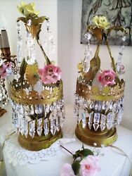 Pair Of Tole Crystal Roses Bed Lamps Italian Vintage