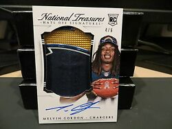National Treasures Rookie Hats Off Autograph Chargers Melvin Gordon 4/6 2015