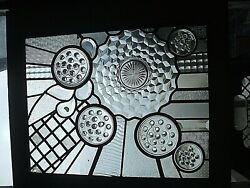 Clear Flower Frog View Recycled Steampunk Stained Glass Window Framed