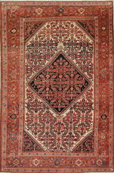 Pre1900 Antique Grand Floral 4x6 Wool Malayer Mishen Oriental Area Rug