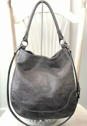 FRYE Melissa Hobo GRAY Pull Up Italian Leather Shoulder Handbag Purse Bag $428