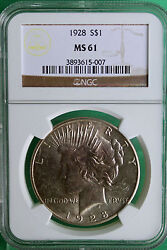 1928 Silver Peace Dollar 1 United States Coin Graded Ms 61 Ngc R12