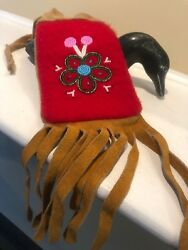 Vintage First Nations Beaded Leather Suede Medicine Pouch With Fringe