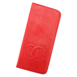Glasses Case Red Woman Unisex Authentic Used T3302