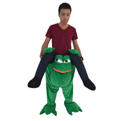 Frog Ride On Mascot Costume Adult Size Frog Piggy Back Outfit Halloween Clothing