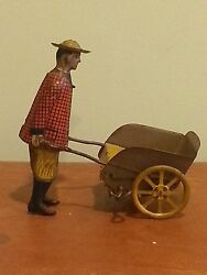 Antique Vintage Tin Wind Up Girard Model Works Woodand039s Mechanical Toy Porter 1920