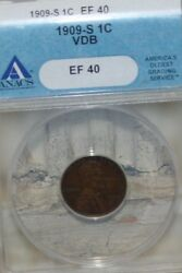 1909-s Vdb Lincoln Wheat Cent Penny Anacs Ef 40