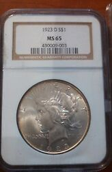1923-d Peace Dollar 1 Ms 65 Ngc White