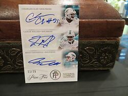 National Treasures Prime Trios Autograph Dolphins Tannehill Miller Clay 2013