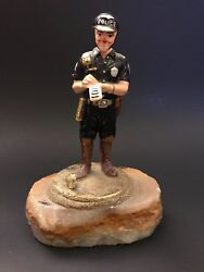 Ron Lee Signed 1995 Clown Police Cop Issuing A Ticket Figurine Limited Edition