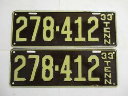 Nice Pair 1933 Tennessee License Plate Tag