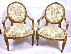Antique French Gold Guilt Arm Chairs Round Back 1800's