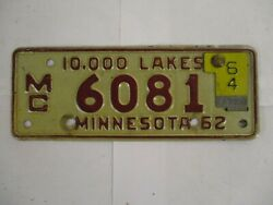 1962 1964 Minnesota Motorcycle License Plate Tag