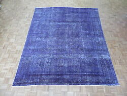 9 X 11'4 Hand Knotted Overdyed Purple Persian Vintage Tabrez Oriental Rug G2104