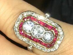 ART DECO STYLE RING 3 DIAMONDS AND RUBIES 18K RING