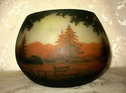 1890's Signed Nancy Daum Cameo Glass LARGE BOWL done in a Forest by Water Design