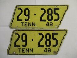 Super Pair 1948 Tennessee License Plate Tag