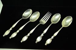 Lot Of Four 6 Teaspoons And One 6 3/8 Salad Fork Wallace Silver Swirl Pattern