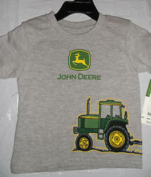 NWT John Deere boys Gray T shirt top Tractor with Wagon 12M 18M Great Gift! $11.99