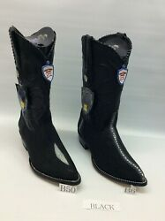 Menand039s Western Boots Genuine Original Stingray Pointed Toe + Free Shipping