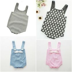 Knitted Stripes Newborn Baby Rompers Summer Infant Boys Girls Jumpsuit Overalls
