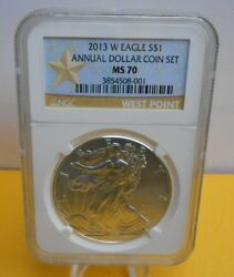 2013 W Burnished American Silver Eagle Annual Dollar Set Ngc Ms70 Pop 727