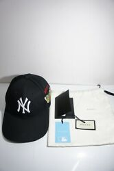 GUCCI NY New York Yankees Baseball Cap 19SS Butterfly Embroidery Hat Black Auth