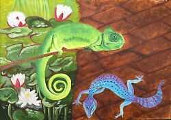 CHAMELEON AND GECKO Oil Painting on CARDBOARD 2017