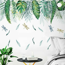 Tropical Leaves Dragonflies Wall Border Decal Kids Room Decor Vinyl Stickers DIY