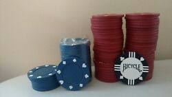 79 Poker Chips Red Blue Black White Hearts Diamonds Clubs Spades New And Used Play