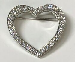 Rare Vintage Tiffany & Co. Platinum Diamond Heart Brooch Pin Pendant