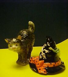 Halloween Salt/pepper Fitz And Floyd Witch Hat And Cat