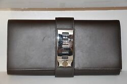 Hermes  Box Medor 29Brown Leather  Clutch With Palladium Hardware