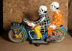 Rare Vintage Mettoy   8.5   Ou2 Clown Motorcycle   Works   Excellent Condition