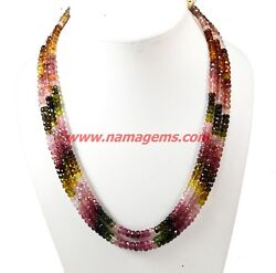 Watermelon Multi Tourmaline Gemstone Faceted Beads Multi Layer 3 Strand Necklace