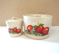 Vintage Apple Stoneware Crock Canisters Containers 2 Piece Set