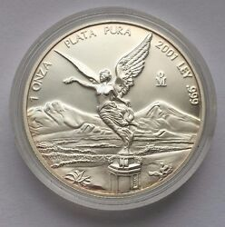 2001 Beautiful Proof Silver Mexican Libertad 1 Oz .999 Silver Coin