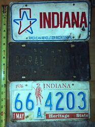 3 Indiana License Plates Old Rural Youth Bicentennial